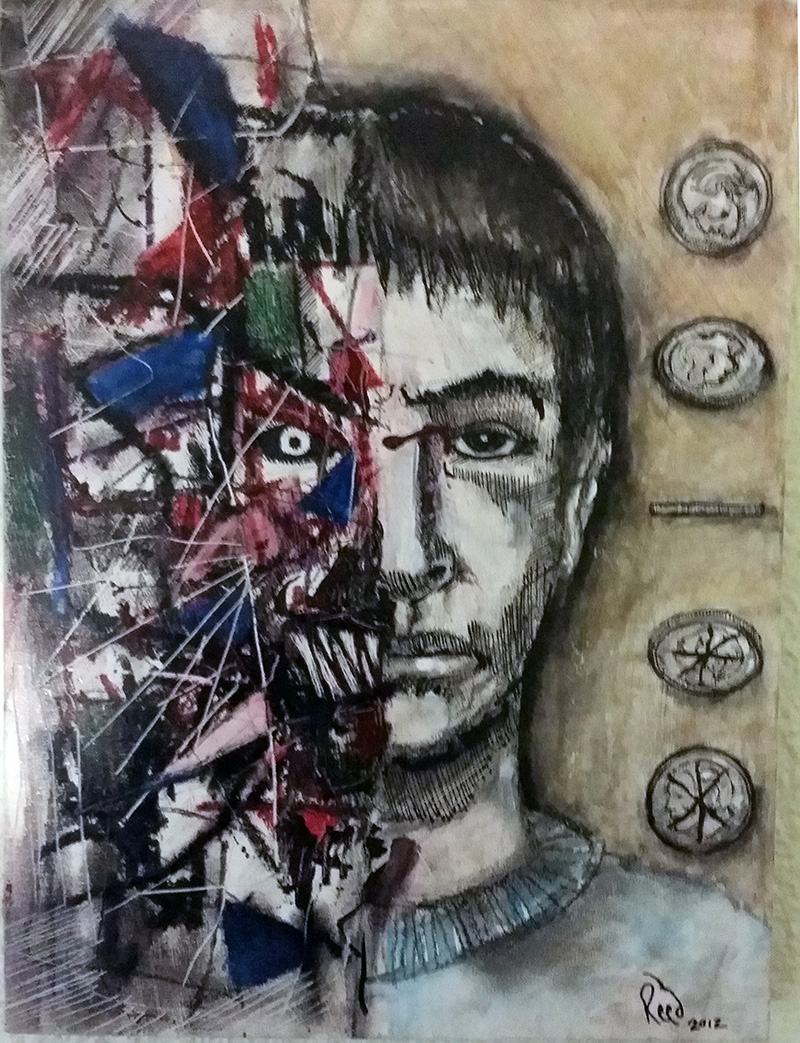 Two Face (mixed media on panel)