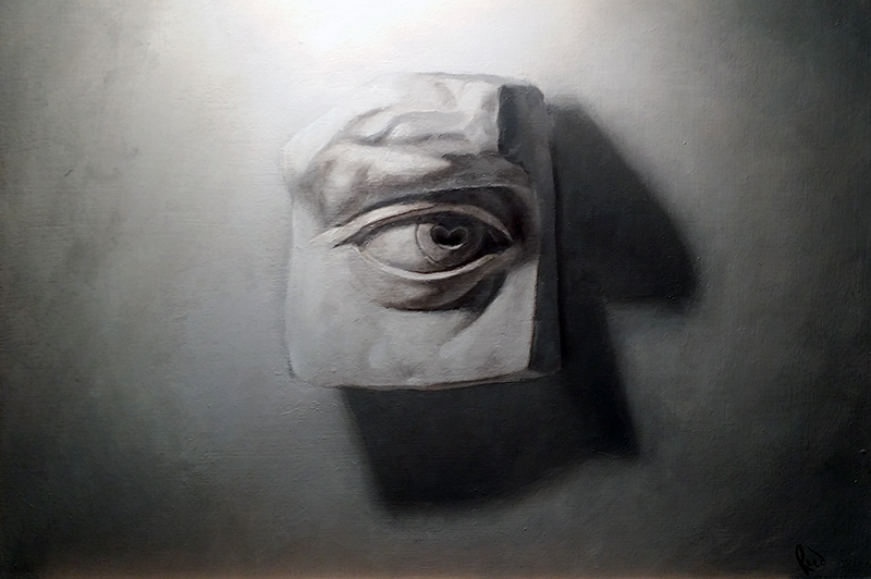 Still Life of Plaster Eye (Oils)