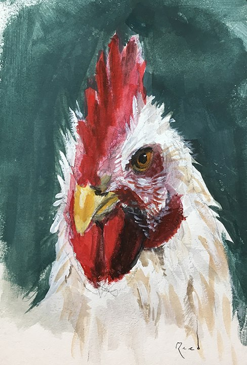 Rooster in gouache