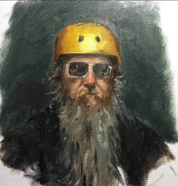 Alla prima oil portrait from life of Dan helmeted