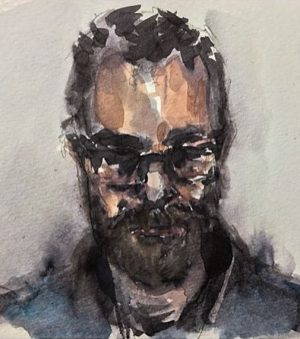 Quick portrait of David Longo from life in watercolors